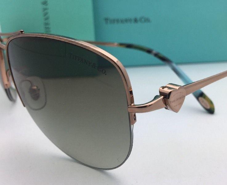 da9cd4cfeca3 TIFFANY   CO. Sunglasses TF 3021 6105 3M Bronze Copper Aviator w  Green  Gradient