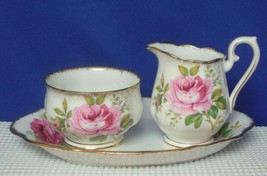 AMERICAN BEAUTY Royal Albert China MINI CREAMER & SUGAR BOWL wirh TRAY E... - $24.24