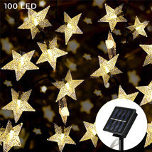 Solar Star String Lights 100 LED Warm White 8 Modes Twinkle Fairy Outdoo... - £16.85 GBP