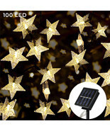 Solar Star String Lights 100 LED Warm White 8 Modes Twinkle Fairy Outdoo... - £16.50 GBP
