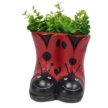 "7"" Adorable Ladybug Boot Design Home/Garden Planter Pot Red Black Resin"