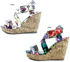 Women's Delicious Baymist-S Floral Open Toe Buckle Criss Cross Shoes Wedge - $22.99