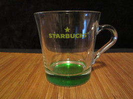 Starbucks Clear Glass Coffee Mug Tea Cup / Green Tinted Base & Logo - $9.99