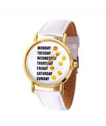 Cute Emoji Girl White Leather Watches Monday Weekday Sport Women Wristwatch - $3.99