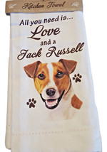 Jack Russell Kitchen Dish Towel  Dog Theme All You Need Is Love Cotton 1... - $11.49