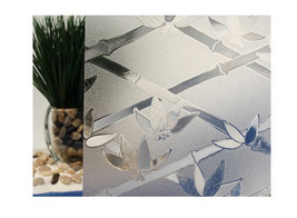 "Clear Bamboo Flowers Cut Glass Static Cling Window Film, 35"" Wide x 6.5 ft - $70.79"