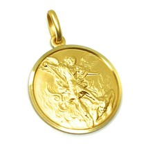 SOLID 18K YELLOW GOLD SAINT MICHAEL ARCHANGEL 21 MM MEDAL, PENDANT MADE IN ITALY image 2