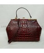 NWT Brahmin Juliette Kiss-lock Leather Satchel/Shoulder Bag in Pecan Mel... - $249.00