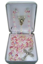 Catholic Pink Glass Capped Prayer Bead Rosary Necklace, 24 Inch - $23.43