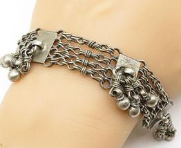 925 Silver - Vintage Dangling Ball Bead Multi-Strand Chain Bracelet - B5517 - $107.62
