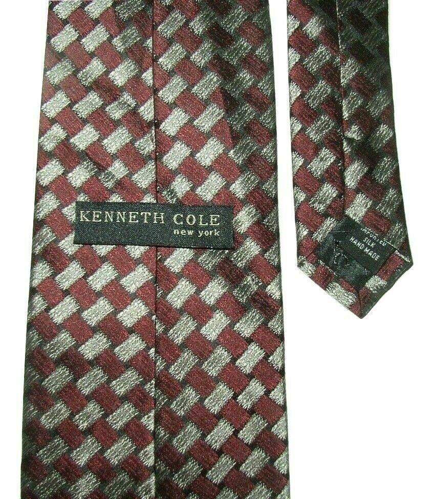 """Kenneth Cole Men's Silk Neck Tie Burgundy Red Silver Gray Black Geo 58"""" NWOT"""