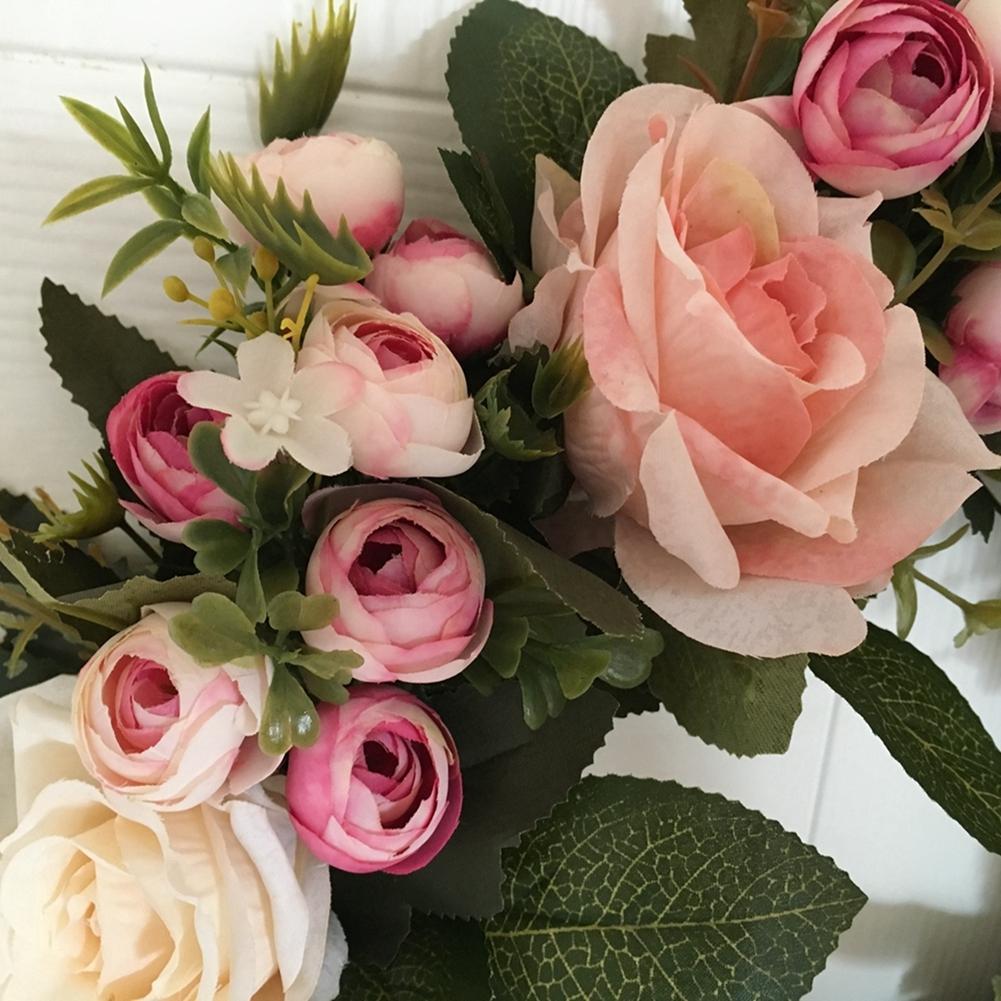 LumiParty Floral Artificial Rose Door Wreath Wedding Decor