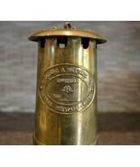 E Thomas & Williams Cambrian Brass Miner's Lantern Lamp Aberdare Wales - $129.00
