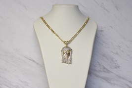 HIP HOP ICED OUT 14K GOLD PLATED BRASS MICRO PAVE JESUS FACE MEDALLION PENDANT image 2