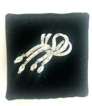 Signed USNER Silver Tone Rhinestone Ribbon Bow Brooch Pin Fashion Jewelry - $19.50
