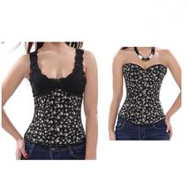 Women's Sexy Brown Overbust and underbust Corset with Skull Print sexy P... - $62.94+