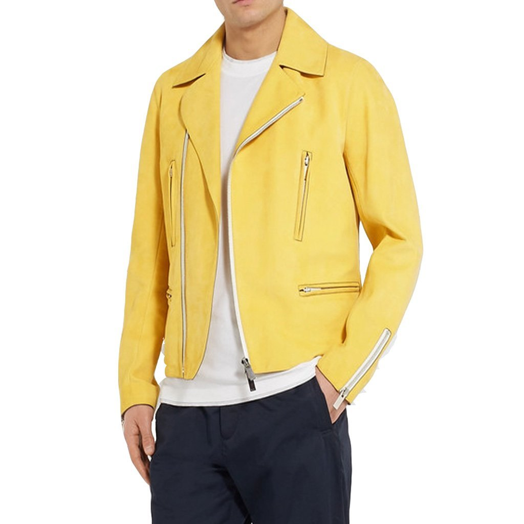 YELLOW MEN LEATHER  MOTORCYCLE JACKET