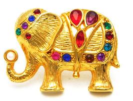Vintage Gold Tone Rhinestone Elephant Brooch Upturned Trunk Holding A Fa... - $18.95