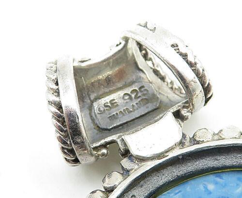 925 Sterling Silver - Vintage Larimar Beaded Border Oval Drop Pendant - P6146
