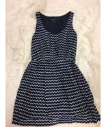 French Connection Women's Dress Size 4 Navy Ivory Chevron Striped Sleeve... - $19.79