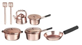Dollhouse Miniature Pots and Pans, 10 Piece, Copper Metal #G6107 - $5.72