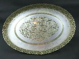 Vintage Gold Tone Metal Filigree Oval Glass Vanity Dresser Perfume Servi... - $65.00