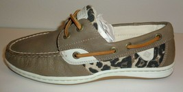 Sperry Size 6.5 M KOIFISH Taupe Leather Leopard Print New Womens Lace Bo... - $98.01