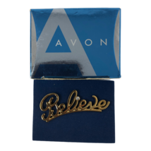 Avon Gold Tone Believe with Rhinestone Brooch Pin 2007 with Box - $9.89
