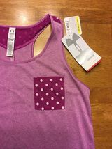 NWT Under Armour Girl's Purple Striped Heatgear Loose Tank Top - Size: Large image 5