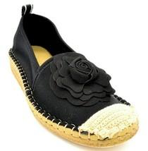 Taryn Rose Womens Quincy Espadrille Slip On Flats Rose Detail Sz 7 Black... - $59.39