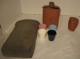 Vintage Flask & 4 Shot Glasses in Leather Covers with Bag Distressed but... - $18.81