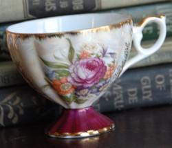 VINTAGE TEA CUP CABBAGE ROSE GOLD GILT FINE BONE PORCELAIN LUSTRE MELON ... - $19.99