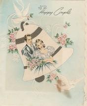 Vintage Wedding Card Couple in Bell Embossed 1940's - $6.92