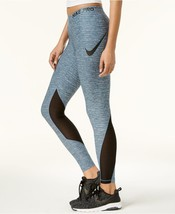 Nike Womens Pro Dri-Fit Heathered Leggings Blue Force/Black - $44.41