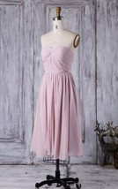 Sweetheart Tea Length Dusty Rose Chiffon Bridesmaid Wedding Gown Dresses... - $95.00