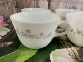 Set of 4 Corning Short Round Mugs/Cups With Ribbon Of Gray Flowers - $7.70