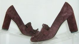 Franco Sarto 'Ainsley' purple suede buckle kiltie slip on block heels 7.5M image 9