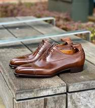 Men's Handmade Brown Leather Dress Shoes, Best Brown Leather Formal Shoes Mens - $159.99 - $179.99