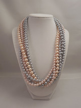 Elegant, Multi Strand Long Necklace with Peach Pink and Gray Glass Pearl - $72.00