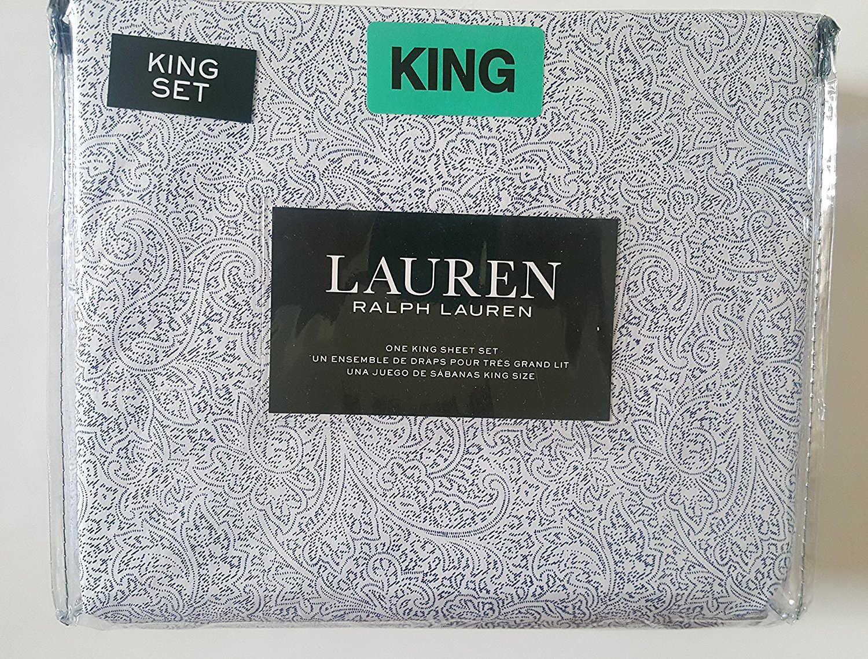 Ralph Lauren Indigo Navy Paisley on White Sheet Set King