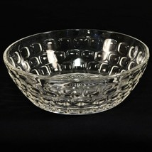 "VTG Clear Glass Thumbprint Serving Bowl 8"" Mid Century Modern Honeycomb Dot - $16.82"