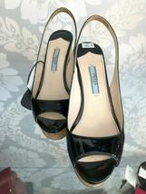 PRADA Black Patent Leather Open Toe Platform Slingback Heels Sz 36.5/US 6.5 $590 - $207.42