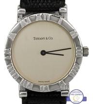Tiffany & Co. 925 Sterling Silver Atlas 31mm Swiss Quartz Leather Watch ... - $879.95
