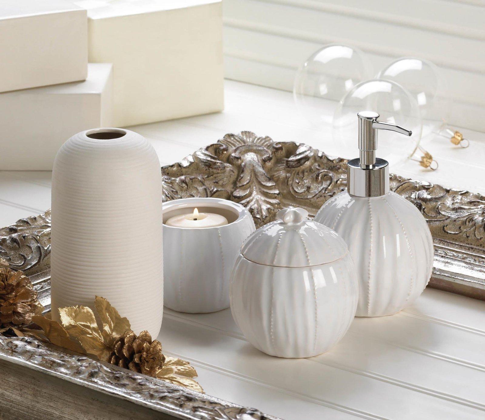 ... Container For Bathroom, Pure White Cotton Ball Food Tea Ceramic Jar  Decor ...