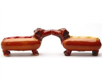 Primary image for Salt & Pepper Shakers Set, Happy Hot Dog