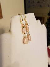 Pink Opal Dangle Earrings - $20.00