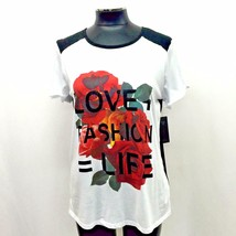 Guess Blouse Shirt Floral Short Sleeve Love Life Split Back Black White Red Sz M - $29.99