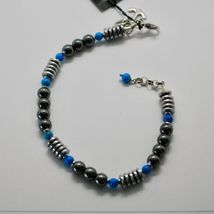 Silver Bracelet 925 with Turquoise and Hematite BLE-2 Made in Italy by Maschia image 6