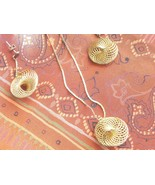 Vintage Gold Tone Necklace And Post Earring Set Wire Circles Marked KOREA - $5.95