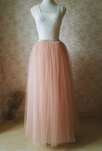 Deep Blush Tulle Maxi Skirt Floor Length Puffy Tulle Skirt Blush Bridal Skirt - $59.99